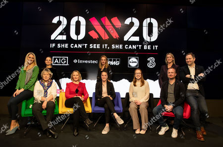Evanne Ní Chuilinn, Heather Thornton, Jessica Harrington (Horse Trainer), Sarah Keane (President Olympic Federation of Ireland), Sarah Colgan, Casey Stoney (Manchester United Women's coach), Rena Buckley (18 times All Ireland winner), Mary O'Connor, Graham Shaw (Ireland Women's Hockey coach) and Ger Gilroy are pictured at the launch of 20x20, a new campaign presented by the Federation of Irish Sport and originated and developed by the creative agency Along Came A Spider and supported by Healthy Ireland is setting out to create a measurable cultural shift in our perception of women?s sport so that it will be seen as something strong, valuable and worth celebrating. The campaign, championed by Ireland?s National Governing Bodies and Local Sports Partnerships, is calling on the people of Ireland and all those involved in Irish sport and physical activity to get behind female sport in a concerted effort to increase media coverage, boost attendances and ultimately, grow involvement in female sport and physical activity by 20% by the end of 2020.