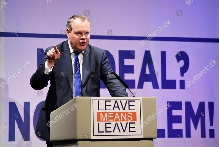 Conor Burns MP speaks at the Leave Means Leave rally to save Brexit at Bournemouth International Centre, (BIC), Dorset, UK