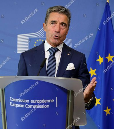 Co-Chair of the Transatlantic Commission on Election Integrity and former Secretary-General of NATO Danish Anders Fogh Rasmussen gives a press briefing during an international conference on Election Interference in the Digital Age - Building Resilience to Cyber-Enable Threats in Brussels, Belgium, 15 October 2018.
