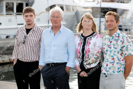 British actor Billy Howle (L), US actor Richard Gere (2-L), producer Hilary Salmon (2-R) and writer Tom Rob Smith (R) pose during a photocall for the TV series 'MotherFatherSon' at the annual MIPCOM - The World's Entertainment Content Market in Cannes, France, 15 October 2018. The media event runs from 15 to 18 October.