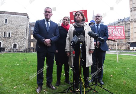 Sinn Fein's Conor Murphy (L) Sinn Fein Leader Mary Lou McDonald (C) and Michelle O'Neill, Sinn Fein's leader in Northern Ireland (C-L) speak to reporters outside the Houses of Parliament in London, Britain, 15 October 2018. The Sinn Fein delegation will be meeting with Britisth Prime Minister, Theresa May. Media reports state that Brexit negotiations have problems over the Irish border a British government sources have said.
