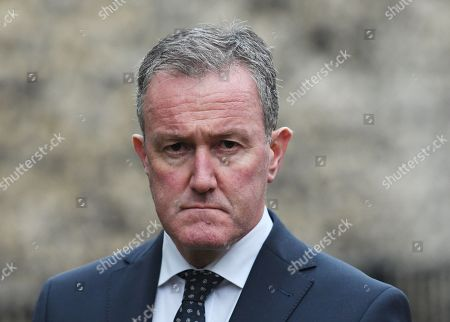 Stock Photo of Sinn Fein's Conor Murphy speaks to reporters outside the  Houses of Parliament in London, Britain, 15 October 2018. The Sinn Fein delegation will be meeting with British Prime Minister, Theresa May. Media reports state that Brexit negotiations have problems over the Irish border a British government sources have said.
