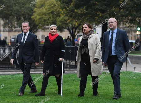 Sinn Fein's Conor Murphy (R), Sinn Fein Leader in Northen Ireland Mary Lou McDonald (2-L) and Sinn Fein Leader Michelle O'Neill (2-R) speak to reporters outside the Houses of Parliament in London, Britain, 15 October 2018. The Sinn Fein delegation will be meeting with Britisth Prime Minister, Theresa May. Media reports state that Brexit negotiations have problems over the Irish border a British government sources have said.