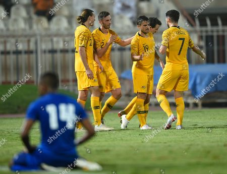 Australia's Josh Risdon (2-R) celebrates with teammates after scoring during the International Friendly soccer match between Kuwait and Australia at Al kuwait club Stadium in Kuwait City, Kuwait, 15 October 2018.