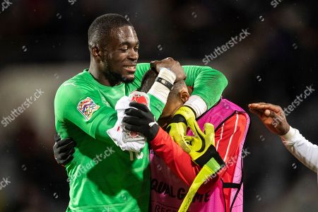 Switzerland's goalkeeper Yvon Mvogo reacts after the UEFA Nations League soccer match between Iceland and Switzerland at the Laugardalsvoellur stadium in Reykjavik, Iceland, 15 October 2018.