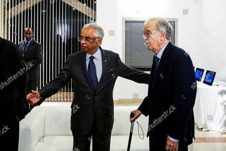 Stock Picture of Former Portuguese President, Jorge Sampaio (R), chats with Nazim Ahmed during a dinner with 40 former heads of state at Ismaili Center, Lisbon, Portugal, 15 October 2018.