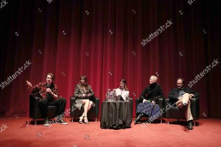 (L-R) Jonathan Ross, Dakota Johnson, Mia Goth, Tilda Swinton, Director Luca Guadagnino
