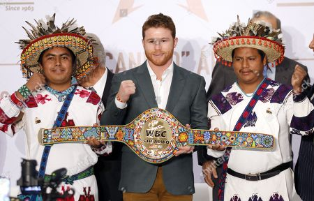 Editorial picture of Press conference of 'El Canelo' Alvarez in Mexico City - 15 Oct 2018
