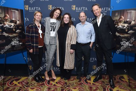 Anne Carey, Dolly Wells, Melissa McCarthy, Brian Rose, and Richard E. Grant