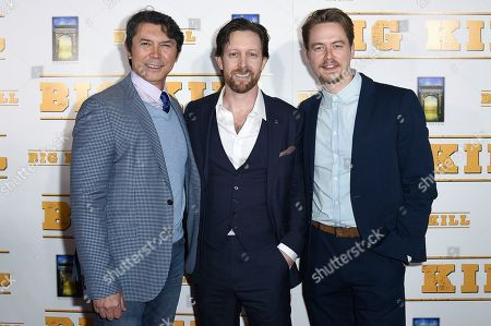 "Lou Diamond Phillips, Scott Martin, Christoph Sanders. Lou Diamond Phillips, from left, Scott Martin and Christoph Sanders attend the LA premiere of ""Big Kill"" at ArcLight Hollywood, in Los Angeles"