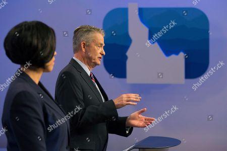Democratic gubernatorial candidate Paulette Jordan and Lt. Gov. Brad Little participate in a debate at the studios of Idaho Public Television in Boise, Idaho