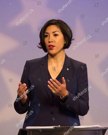Democratic gubernatorial candidate Paulette Jordan speaks during a debate at the studios of Idaho Public Television in Boise, Idaho