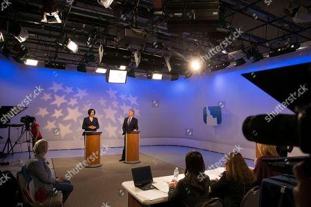 Paulette Jordan, Brad Little. Democratic gubernatorial candidate Paulette Jordan and Lt. Gov. Brad Little participate in a debate at the studios of Idaho Public Television in Boise, Idaho