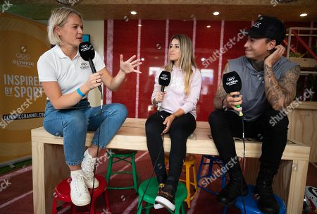 Professional street skateboarders Leticia Bufoni BRA and Nyjah Huston USA being interviewed by the Olympic Channel during a visit to the Youth Olympic Village.