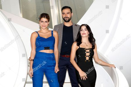 Stock Image of Brazilian actress Maria Bopp (L), Mexican actor and singer Alfonso Herrera (C) and Argentinian actress, singer and model Lali Esposito (R), talent presented by Fox, poses during a photocall at the annual MIPCOM television content market in Cannes, France, 16 October 2018. The media event runs from 15 to 18 October.