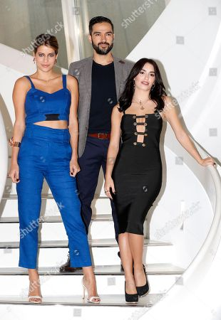 Brazilian actress Maria Bopp (L), Mexican actor and singer Alfonso Herrera (C) and Argentinian actress, singer and model Lali Esposito (R), talent presented by Fox, poses during a photocall at the annual MIPCOM television content market in Cannes, France, 16 October 2018. The media event runs from 15 to 18 October.