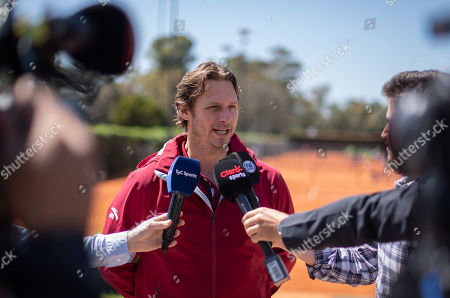 Stock Image of David Nalbandian, Argentinian retired professional tennis player, being interviewed ahead of The Youth Olympic Games.