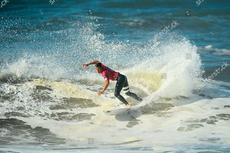Australia's Julian Wilson in action during his heat of the MEO Rip Curl Pro Portugal 2018 surfing event as part of the World Surf League (WSL) at Praia dos Super Tubos in Peniche, Portugal, 16 October 2018.