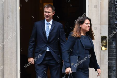 Britain's Foreign Secretary Jeremy Hunt (L) and Minister of State for Immigration Caroline Noakes (R) leave a Cabinet meeting at 10 Downing Street in central London, Britain, 16 October 2018. The British Prime Minister Theresa May presided over a cabinet meeting which discussed the Brexit deadlock ahead of the key European Council meeting in Brussels, Belgium, on 17 October 2018.