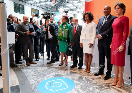 Stock Image of From right, Queen Letizia of Spain, King Letsie III of Lesotho, a guest and FAO Secretary General Graziano Da Silva pose for a photo as they visit the FAO, Food and Agriculture Organization, on the occasion of the World Food Day summit, in Rome, . Letizia is an FAO Goodwill Ambassador for nutrition