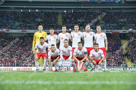 Poland team group, Wojciech Szczesny, Damian Szymanski, Arkadiusz Reca, Jan Bednarek, Arkadiusz Milik, Bartosz Bereszynski, Jacek Goralski, Piotr Zielinski, Robert Lewandowski, Karol Linetty