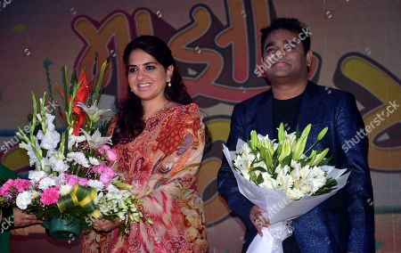 Stock Image of Indian Politician Shaina NC with Indian music director AR Rahman