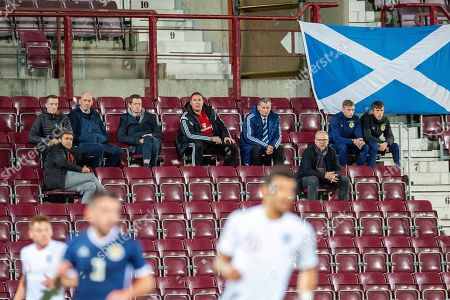 Alec McLeish (glasses) and Malky Mackay (red top) watching from the stand during the U21 UEFA EUROPEAN CHAMPIONSHIPS match between Scotland and England at Tynecastle Stadium, Edinburgh