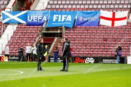 Scot Gemmil & Malky Mackay discuss the game ahead of the U21 UEFA EUROPEAN CHAMPIONSHIPS match Scotland vs England at Tynecastle Stadium, Edinburgh, Scotland