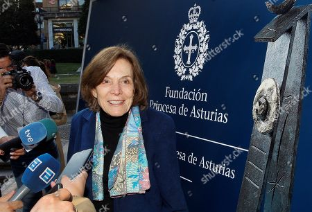 US marine biologist Sylvia A. Earle speaks to the media upon arrival in Oviedo, Spain, 16 October 2018. Earle will receive the Princess of Asturias Award for Concord next 19 October 2018. The Princess of Asturias Awards are given every year to personalities or organizations from all around the world who make significant achievements in the sciences, arts, literature, humanities and sports.