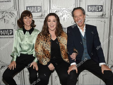 """Dolly Wells, Richard E. Grant, Melissa McCarthy. Actors Dolly Wells, left, Richard E. Grant and Melissa McCarthy pose together backstage before the BUILD Speaker Series to discuss the film, """"Can You Ever Forgive Me?"""", at AOL Studios, in New York"""