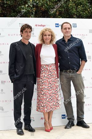 Director Valeria Golino with Riccardo Scamarcio and Valerio Mastandrea