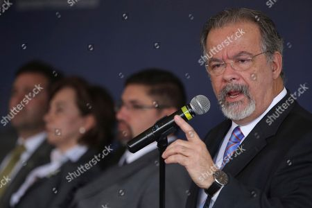 Stock Image of Minister of Public Security Raul Jungmann speaks at an inauguration ceremony of a maximum security federal penitentiary in Brasilia, Brazil, . According to the Ministry of Public Security, the federal prison is the fifth unit of its kind in the country
