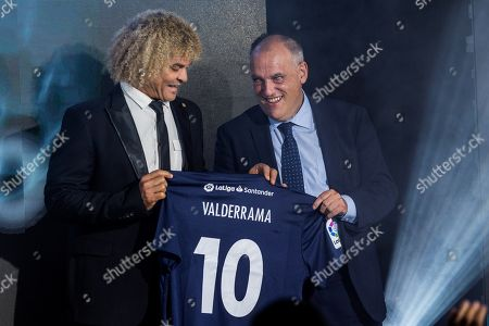 Former soccer player Carlos Valderrama (L) and Spanish top professional division La Liga, Javier Tebas (R), pose during the presentation of LaLiga Ambassadors, in Madrid, Spain, 16 October 2018. LaLiga Ambassadors is a project to represent the Spanish LaLiga soccer league around the world through LaLiga former players.