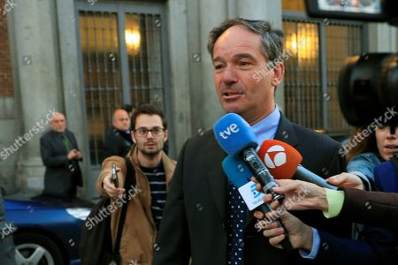 Belgium's Ambassador in Madrid, Marc Calcoen, talks to the press as he leaves the Santa Cruz Palace in Madrid, Spain, 16 October 2018, after a meeting with Spanish Foreign Minister Josep Borrel. Borrel has summoned the Belgian Ambassador in Spain for the third time in a month, to address the 'numerous defamatory remarks against Spain' by the Flemish Parliament chairman Jan Peumans.