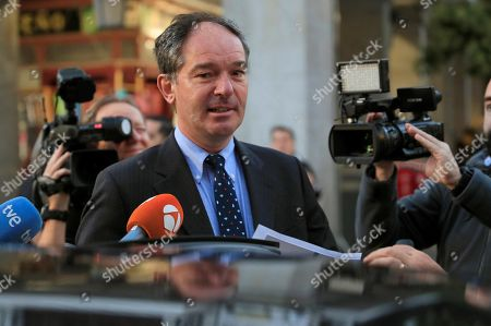 Stock Picture of Belgium's Ambassador in Madrid, Marc Calcoen, talks to the press as he leaves the Santa Cruz Palace in Madrid, Spain, 16 October 2018, after a meeting with Spanish Foreign Minister Josep Borrel. Borrel has summoned the Belgian Ambassador in Spain for the third time in a month, to address the 'numerous defamatory remarks against Spain' by the Flemish Parliament chairman Jan Peumans.