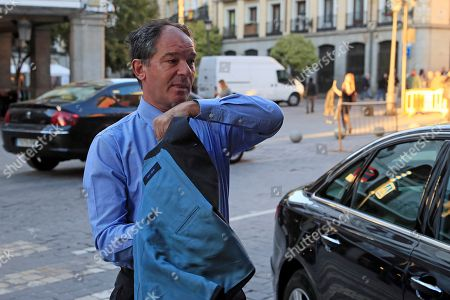 Belgium's Ambassador in Madrid, Marc Calcoen, arrives at the Santa Cruz Palace in Madrid, Spain, 16 October 2018 for a meeting with Spanish Foreign Minister Josep Borrel. Borrel has summoned the Belgian Ambassador in Spain for the third time in a month, to address the 'numerous defamatory remarks against Spain' by the Flemish Parliament chairman Jan Peumans.