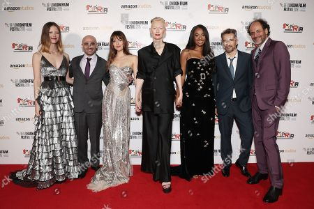 Mia Goth, Producer Josh Godfrey, Dakota Johnson, Tilda Swinton, Kimberly Steward, Editor Walter Fasano, Director Luca Guadagnino
