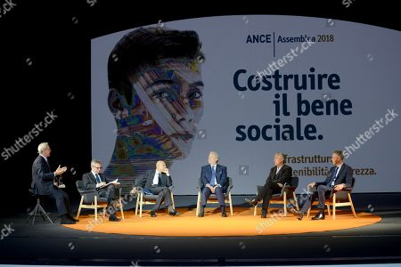 Stock Photo of They took part in the ANCE assembly (from left to right): Enrico Mentana, Dario Scannapieco, Sabino Cassese, Pietro Salini, Stefano Boeri, Gabriele Buia