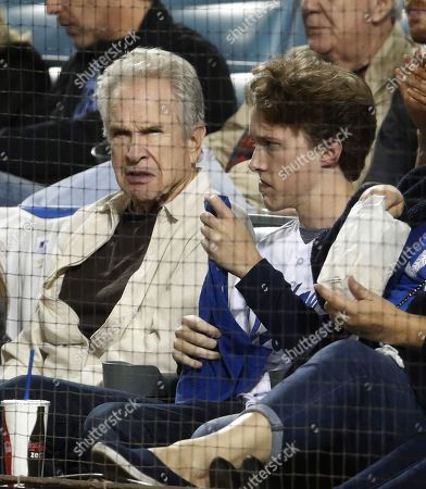 US actor Warren Beatty (L) and his son Stephen (R) attend the National League Championship Series baseball game four between the Milwaukee Brewers and the Los Angeles Dodgers at Dodger Stadium in Los Angeles, California, USA, 16 October 2018.