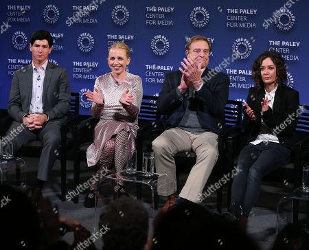 Michael Fishman, Alicia Goranson, John Goodman and Sara Gilbert