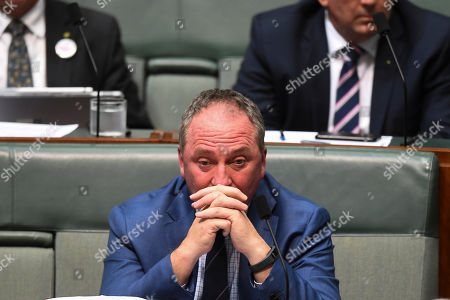 Drought envoy and Nationals Member for New England Barnaby Joyce reacts during House of Representatives Question Time at Parliament House in Canberra, Australian Capital Territory, Australia, 17 October 2018.