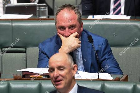 Stock Photo of Drought envoy Barnaby Joyce reacts during House of Representatives Question Time at Parliament House in Canberra, Australian Capital Territory, Australia, 17 October 2018.