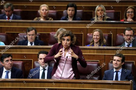 Parliamentary spokesperson of People's Party (PP) Dolors Montserrat speaks during the Government's Question Time at the Lower Chamber in the Parliament, in Madrid, Spain, 17 October 2018.