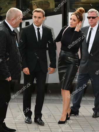 Alan Halsall .the Funeral Of Actress Liz Dawn Who Played 'vera Duckworth' In Itv Soap Drama Coronation Street Held At Salford Cathedral Greater Manchester. Actor Alan Halsall And Wife Lucy-jo Hudson.