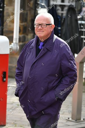 Stock Image of Ken Morley. The Funeral Of Actress Liz Dawn Who Played 'vera Duckworth' In Itv Soap Drama Coronation Street Held At Salford Cathedral Greater Manchester. Ken Morley.