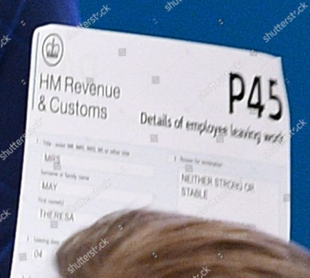 Editorial image of Tight Crop On ....pm Theresa May Give Her Keynote Speech To Conservative Party Delegates. Conservative Party Annual Conference Manchester Central Greater Manchester. Comedian Lee Nelson Hands Theresa May Her P45.