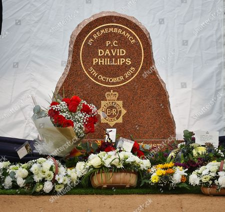 Stock Photo of Liz Dawn Funeral. A Memorial To Pc David Phillips Of Merseyside Police Is Unveiled By Pm Theresa May (arriving) Is Met By Police Memorial Trust Chairman Geraldine Winner At Hamilton Square Gardens Birkenhead Merseyside.