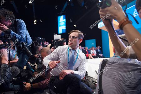 Stock Picture of Comedian Lee Nelson During PM Theresa May Keynote Speech. Conservative Party Conference At Manchester Central Convention Centre Greater Manchester. 4/10/17.