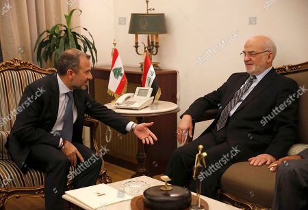 Ibrahim al-Jaafari, Gibran Bassil. Lebanese Foreign Minister Gibran Bassil, left, meets with his Iraqi counterpart Ibrahim al-Jaafari, right, in Beirut, Lebanon