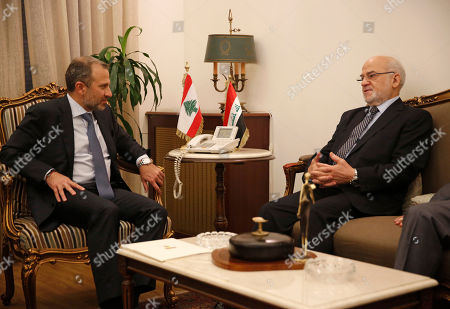 Ibrahim al-Jaafari, Gibran Bassil. Lebanese Foreign Minister Gibran Bassil, left, meets with his Iraqi counterpart Ibrahim al-Jaafari, in Beirut, Lebanon